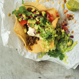 Cheese Tacos with Spicy Mince and Guacamole