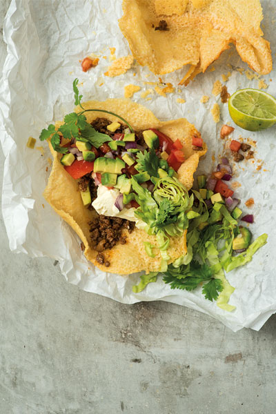 Mexican Food - Cheese Tacos Spicy Mince and Guacamole