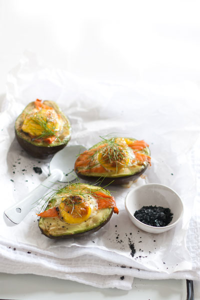 Baked Eggs in Avocados with Guacamole and Salmon