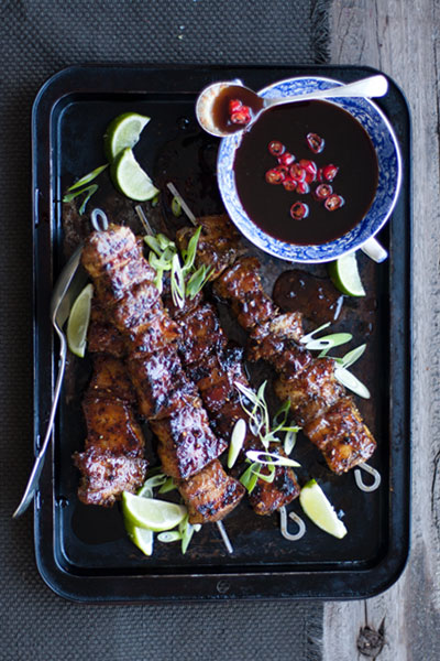 Asian Pork Belly Kebabs with Sticky Plum Sauce