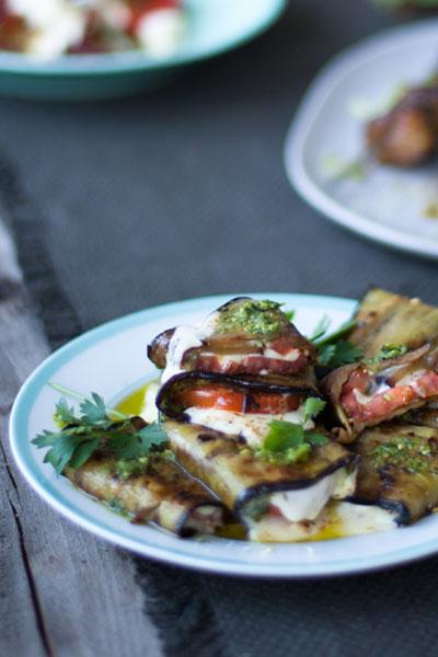 Vegetarian Braai Recipes caprese brinjal parcels