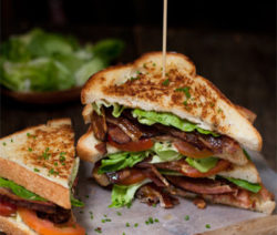BLT Sandwich with Roasted Garlic Aioli and handmade Bacon
