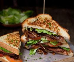 BLT Sandwich with Roasted Garlic Aioli and handmade Bacon