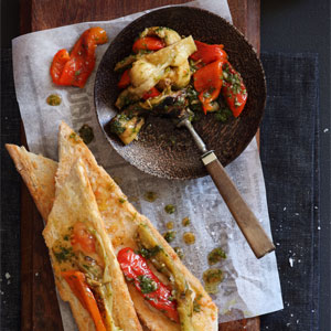 Spanish Grilled Vegetable Salad on Tomato Bread