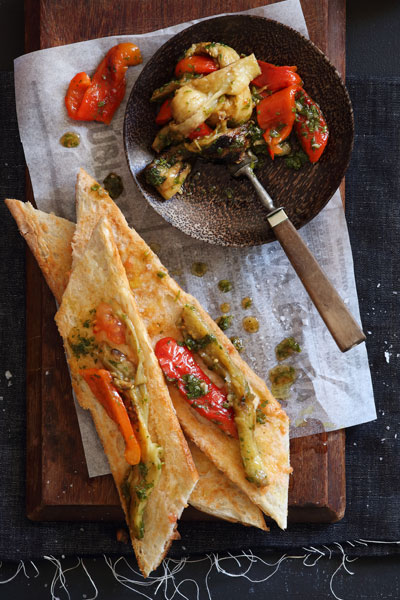 Spanish Grilled Vegetable Salad On Tomato Bread Crush