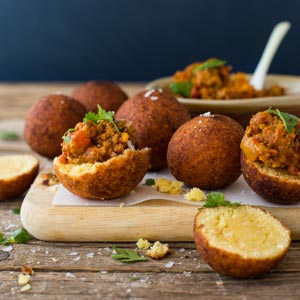 mini vetkoek with curried mince