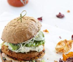 vegan burger with black bean hummus