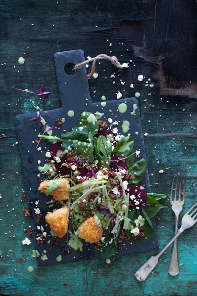 Beetroot and Baby Spinach with Panko Crumbed Brie