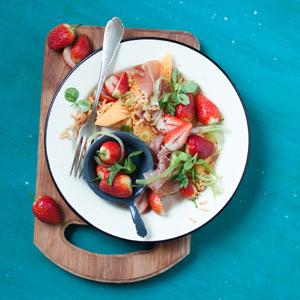 Strawberry, Melon and Parma Ham Salad with Risoni Pasta