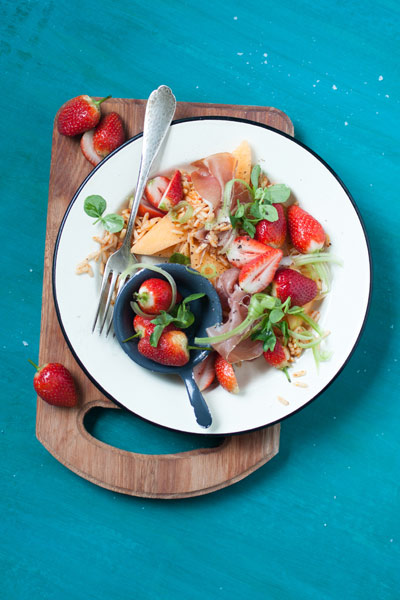 Strawberry, Melon and Parma Ham Salad with Risoni Pasta