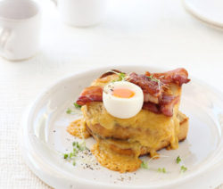 Welsh Rarebit with Crispy Bacon and a Soft Boiled Egg