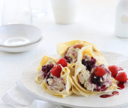 crepes with lemon ricotta&mixed summer berries