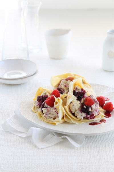 Crêpes With Lemon Ricotta and Mixed Summer Berries