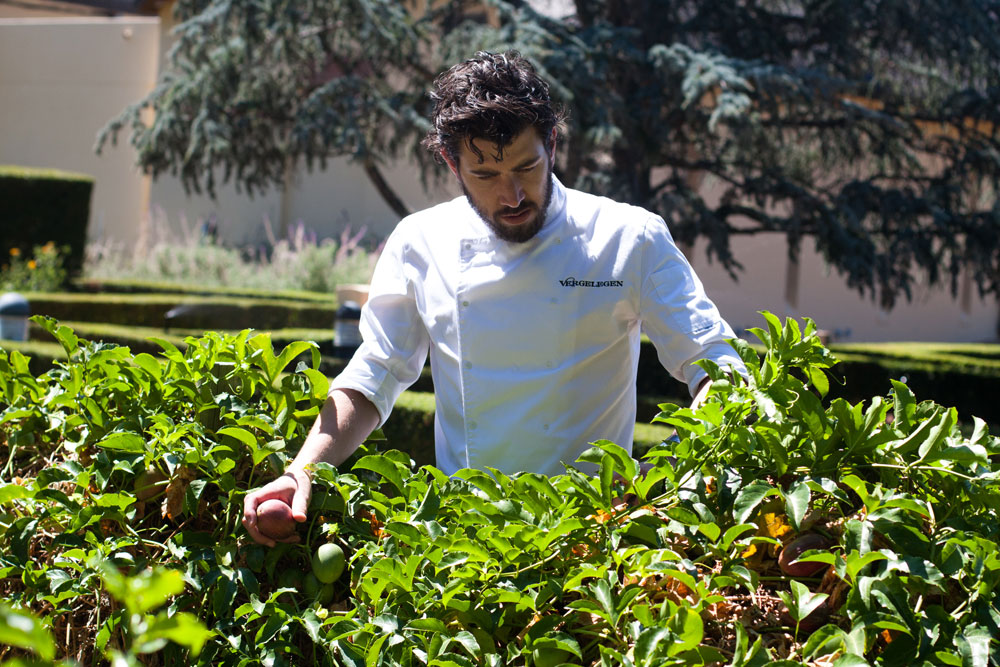 Chef_Mike_Cooke_in_vegetable_garden_Vergelegen