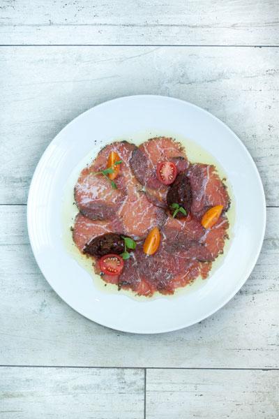 Beef Carpaccio with Caponata