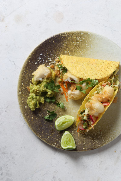 Mexican Food - Nikkei Style Fish Tacos with Toasted Sesame Slaw and Guacamole