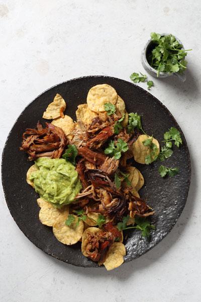 Pulled Pork Nachos with Spicy Guacamole