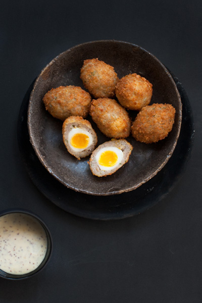 Scotch Quail Eggs with Dijon Mustard Mayo