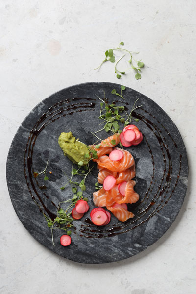 Salmon Tartar with Pickled Radish, Ponzu Reduction and Guacamole