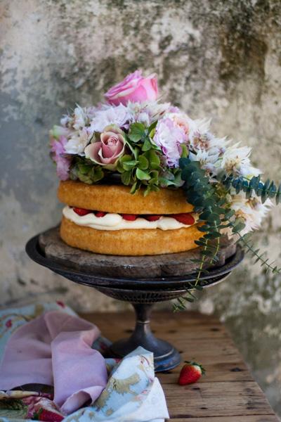 Strawberries and Cream Vanilla Tea-Time Cake