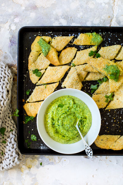 Savoury Biscuits with Avo & Herb Dip