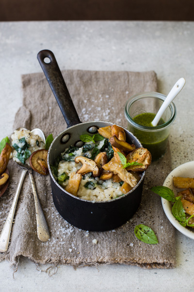 Fry's Chick'n Shiitake Mushroom Risotto with Basil Oil