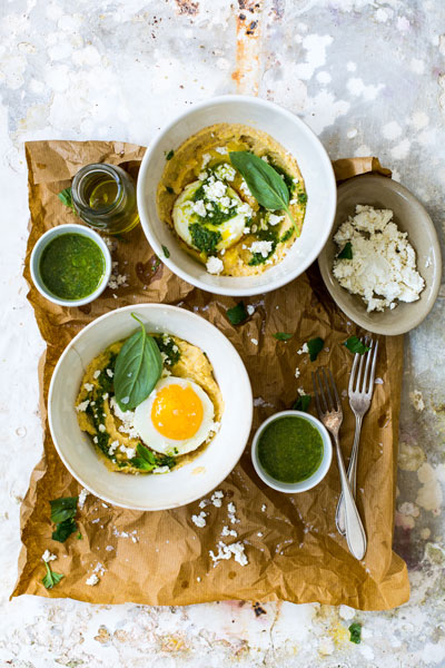 Creamy Polenta with Fried Eggs and a Lemon & Herb Sauce