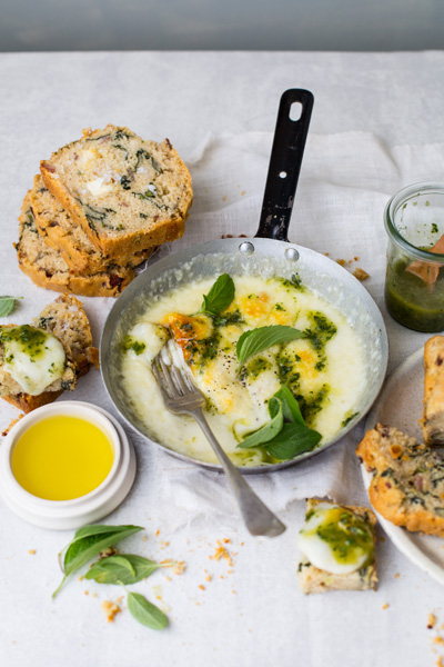 Beer Bread with Grilled Mozzarella and Herb Oil
