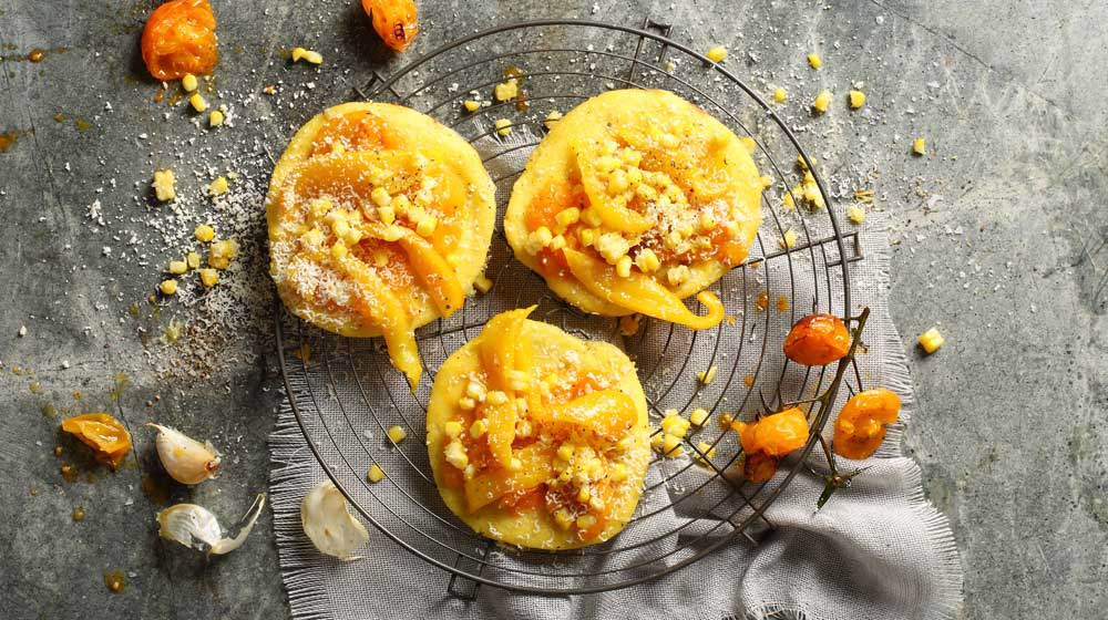 Polenta Pizzas with a Crushed Yellow Tomato Sauce