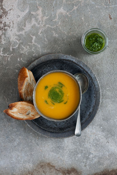 Roasted Carrot Soup with Carrot Top Pesto