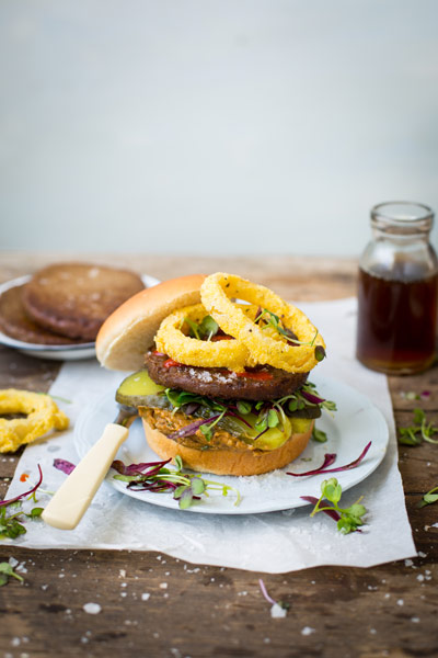 Vegan Burgers with Hummus and Polenta Onion Rings