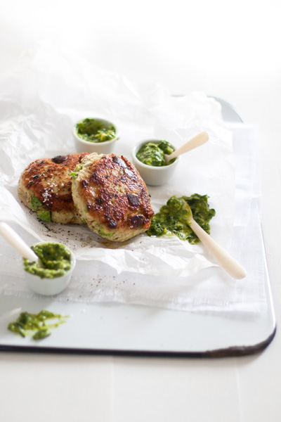 Chicken and Avocado Burgers with Guacamole Pesto