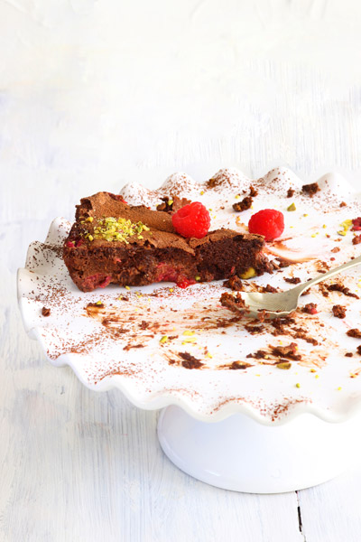 recipes with chocolate - Chocolate Pistachio & Raspberry Torte