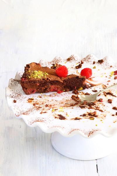 recipes with chocolate - Chocolate Pistachio & Raspberry Torte