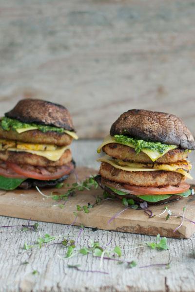 Fry's Chicken-Style Burger Mushrooms Rocket Pesto