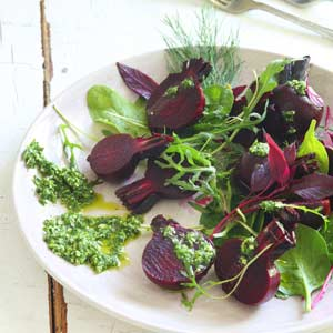 Summer Beetroot Salad with a Herby Pesto Dressing