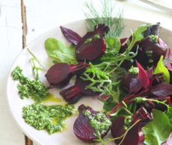 Beetroot Salad with herby pesto dressing