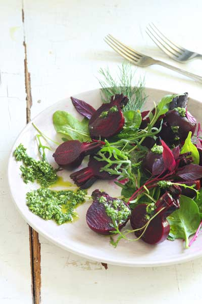 Healthy Eating Summer Beetroot Salad With A herby Pesto Dressing