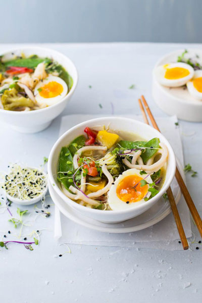Asian Ingredients - noodles and vegetable broth