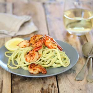 Linguine with Creamy Avo Sauce and Prawns