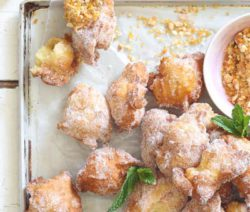 Mini Doughnut Nuggets with Salted Peanut Brittle Dust