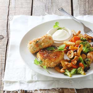 Crumbed Salmon Fish Cakes with a Cashew and Vegetable Stir-fry
