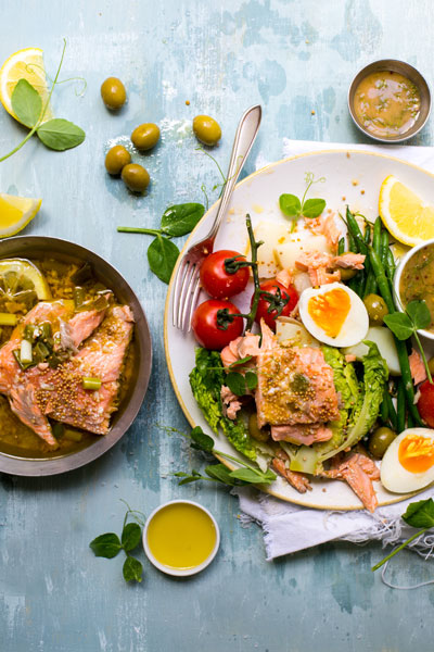 healthy fish recipes - salmon-nicoise-salad-salmon-and-sweet-mustard-dressing