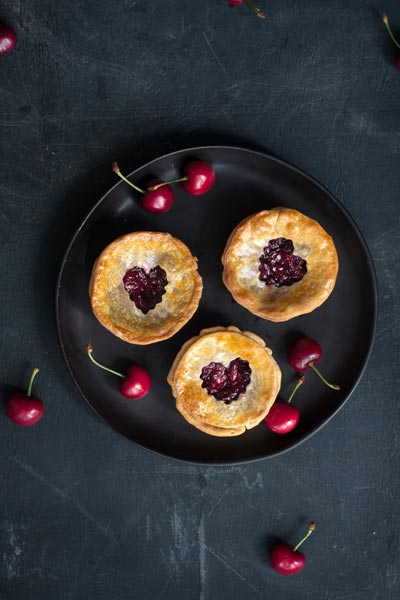 halloween food - bleeding heart cherry tarts