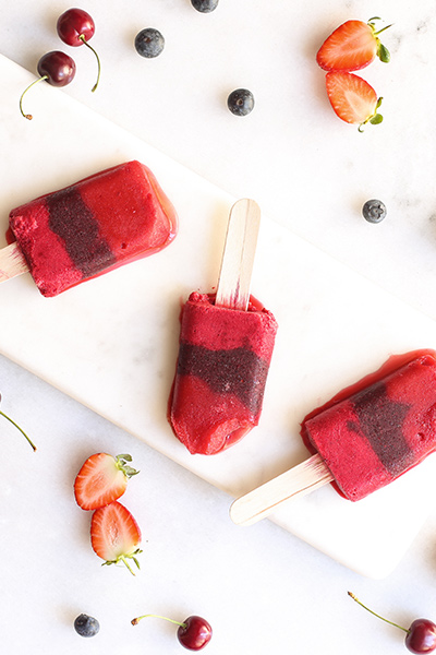 easy vegan recipes triple berry lollies
