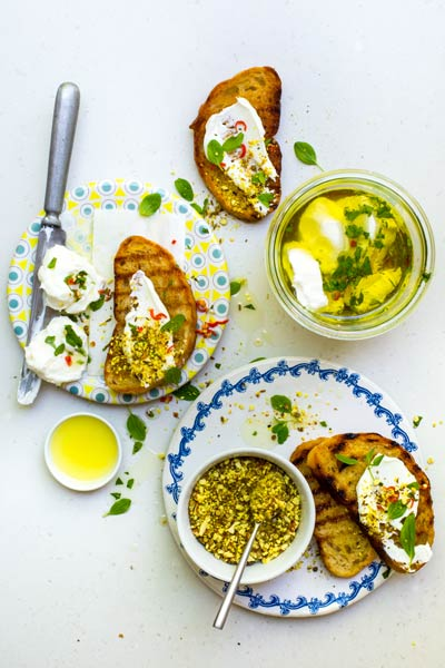 Lemon, Origanum & Chilli Oil Labneh with Almond Dukkah