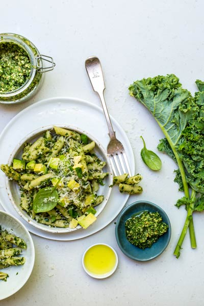 Penne Pasta with Kale Pesto