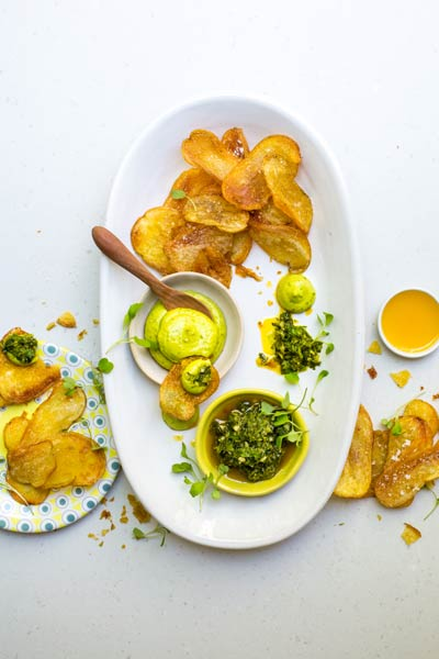 Baked Potato Chips with Avocado Mayonnaise and Gremolata
