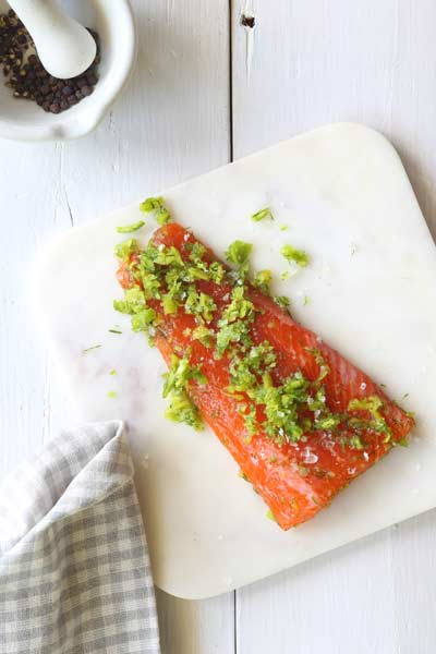 French-inspired food confit salmon
