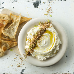 Labneh with Dukkah and Flatbreads